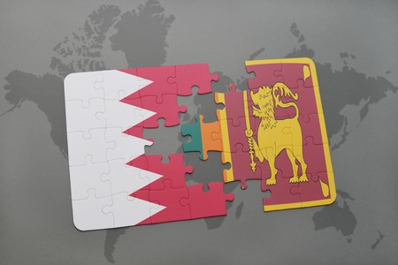 ceylon: puzzle with the national flag of bahrain and sri lanka on a world map background. 3D illustration