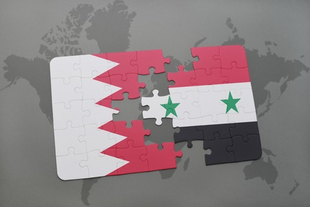 middle east crisis: puzzle with the national flag of bahrain and syria on a world map background. 3D illustration
