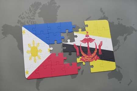 map of brunei: puzzle with the national flag of philippines and brunei on a world map background. 3D illustration