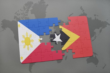 middle east crisis: puzzle with the national flag of philippines and east timor on a world map background. 3D illustration
