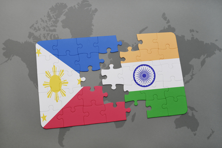 Puzzle with the national flag of philippines and india on a world illustration puzzle with the national flag of philippines and india on a world map background 3d illustration gumiabroncs Images