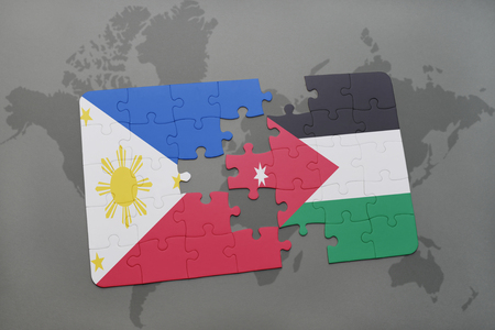 middle east crisis: puzzle with the national flag of philippines and jordan on a world map background. 3D illustration