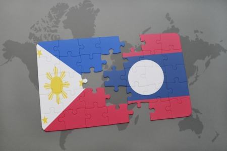 middle east crisis: puzzle with the national flag of philippines and laos on a world map background. 3D illustration