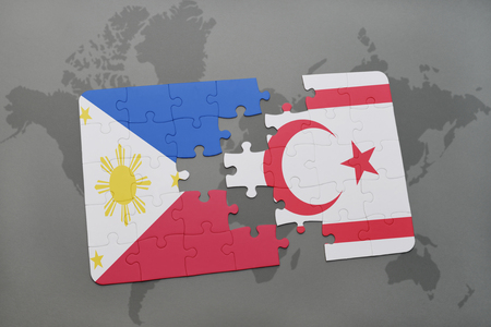puzzle with the national flag of philippines and northern cyprus on a world map background. 3D illustration