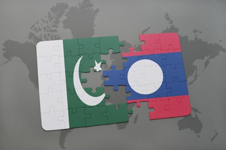 islamabad: puzzle with the national flag of pakistan and laos on a world map background. 3D illustration