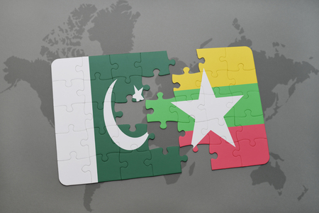islamabad: puzzle with the national flag of pakistan and myanmar on a world map background. 3D illustration
