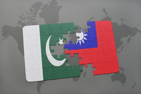 islamabad: puzzle with the national flag of pakistan and taiwan on a world map background. 3D illustration