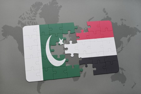 islamabad: puzzle with the national flag of pakistan and yemen on a world map background. 3D illustration Stock Photo