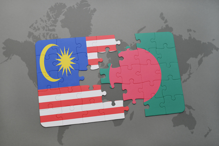 middle east crisis: puzzle with the national flag of malaysia and bangladesh on a world map background. 3D illustration