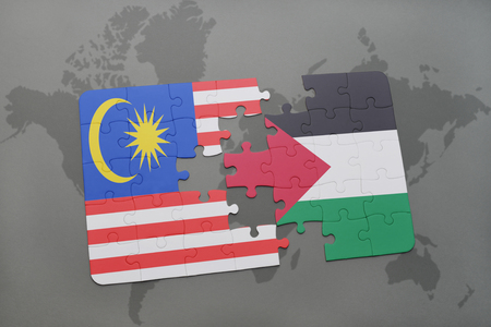 puzzle with the national flag of malaysia and palestine on a world map background. 3D illustration