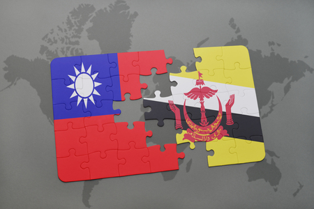 map of brunei: puzzle with the national flag of taiwan and brunei on a world map background. 3D illustration