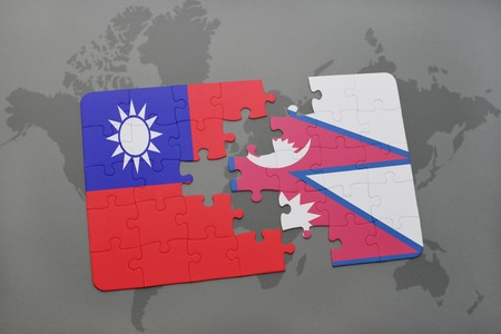 middle east crisis: puzzle with the national flag of taiwan and nepal on a world map background. 3D illustration