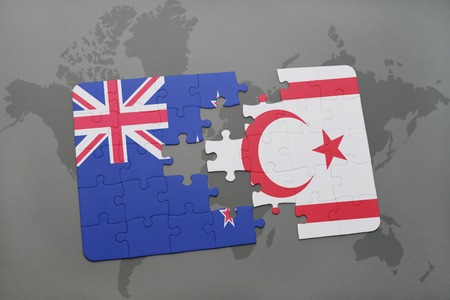 separatism: puzzle with the national flag of new zealand and northern cyprus on a world map background. 3D illustration