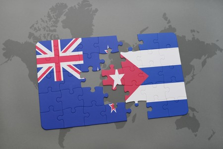Puzzle with the national flag of new zealand and cuba on a world illustration puzzle with the national flag of new zealand and cuba on a world map background 3d illustration gumiabroncs Image collections