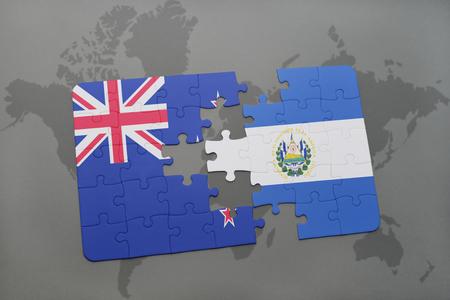 mapa de el salvador: puzzle con la bandera nacional de nueva Zelanda y el salvador en un mapa del mundo de fondo. ilustración 3D