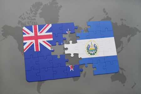 mapa de el salvador: puzzle with the national flag of new zealand and el salvador on a world map background. 3D illustration