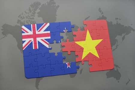 middle east crisis: puzzle with the national flag of new zealand and vietnam on a world map background. 3D illustration