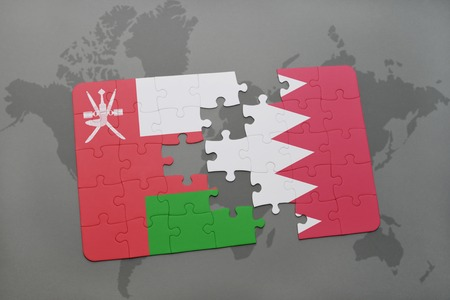 Puzzle with the national flag of oman and india on a world map puzzle with the national flag of oman and bahrain on a world map background 3d gumiabroncs Image collections