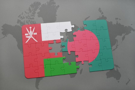 oman background: puzzle with the national flag of oman and bangladesh on a world map background. 3D illustration
