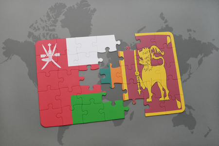 colombo: puzzle with the national flag of oman and sri lanka on a world map background. 3D illustration Stock Photo