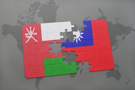 Puzzle with the national flag of oman and china on a world map puzzle with the national flag of oman and taiwan on a world map background 3d gumiabroncs