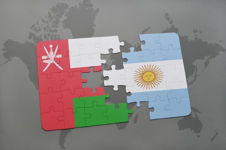 separatism: puzzle with the national flag of oman and argentina on a world map background. 3D illustration