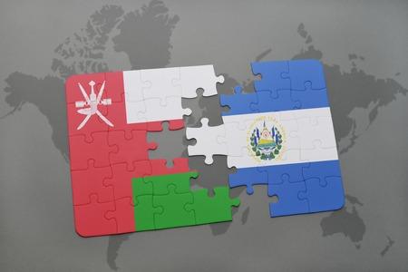 mapa de el salvador: puzzle with the national flag of oman and el salvador on a world map background. 3D illustration