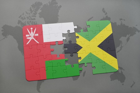 kingston: puzzle with the national flag of oman and jamaica on a world map background. 3D illustration Stock Photo