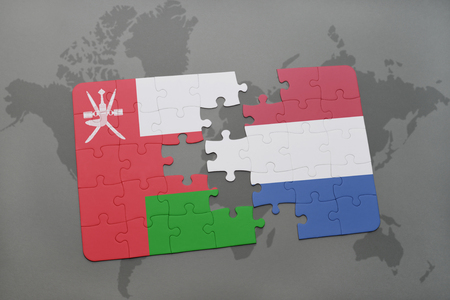 separatism: puzzle with the national flag of oman and netherlands on a world map background. 3D illustration
