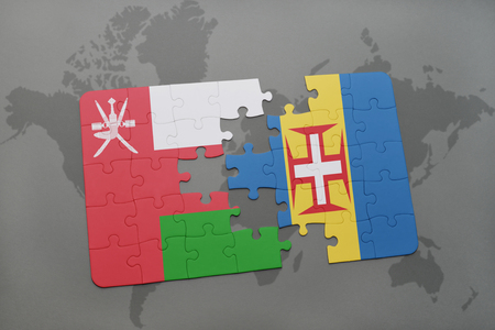 madeira: puzzle with the national flag of oman and madeira on a world map background. 3D illustration Stock Photo