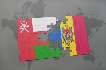 separatism: puzzle with the national flag of oman and moldova on a world map background. 3D illustration