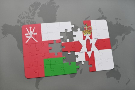 middle east crisis: puzzle with the national flag of oman and northern ireland on a world map background. 3D illustration