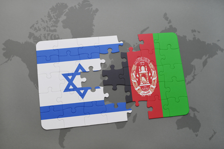 tel: puzzle with the national flag of israel and afghanistan on a world map background. 3D illustration
