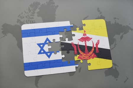 map of brunei: puzzle with the national flag of israel and brunei on a world map background. 3D illustration Stock Photo
