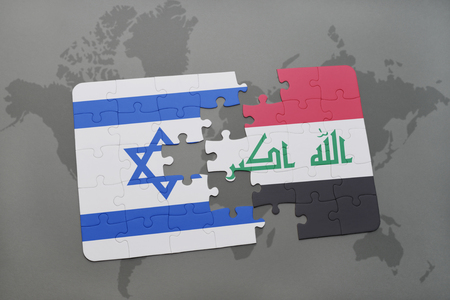 iraq conflict: puzzle with the national flag of israel and iraq on a world map background. 3D illustration