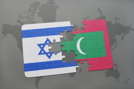 maldives island: puzzle with the national flag of israel and maldives on a world map background. 3D illustration