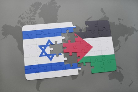 aviv: puzzle with the national flag of israel and palestine on a world map background. 3D illustration