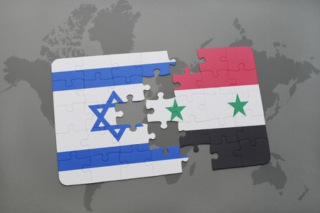 middle east crisis: puzzle with the national flag of israel and syria on a world map background. 3D illustration