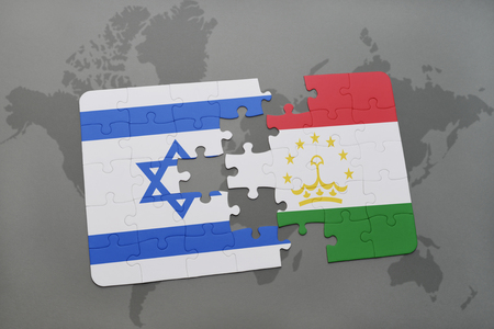 tel: puzzle with the national flag of israel and tajikistan on a world map background. 3D illustration Stock Photo