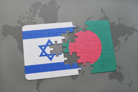 tel: puzzle with the national flag of israel and bangladesh on a world map background. 3D illustration