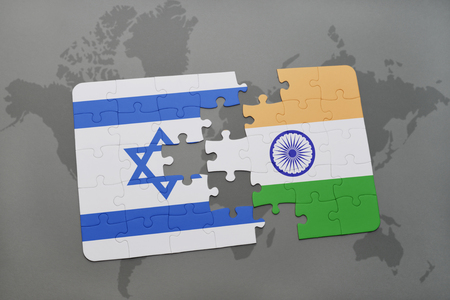 Puzzle with the national flag of india and vietnam on a world puzzle with the national flag of israel and india on a world map background 3d gumiabroncs Choice Image