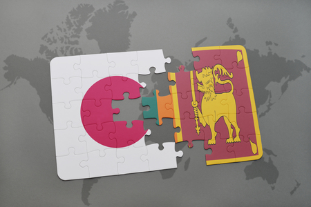 south asia: puzzle with the national flag of japan and sri lanka on a world map background. 3D illustration
