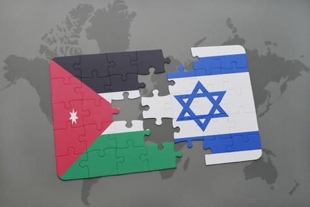 middle east crisis: puzzle with the national flag of jordan and israel on a world map background. 3D illustration