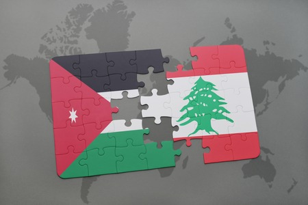 lebanese: puzzle with the national flag of jordan and lebanon on a world map background. 3D illustration