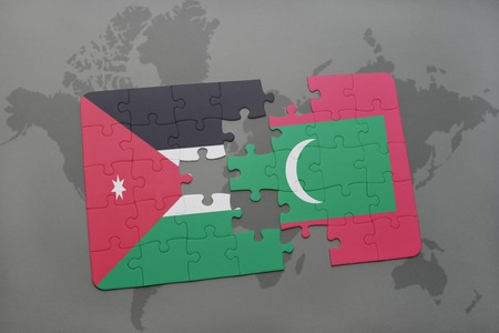 middle east crisis: puzzle with the national flag of jordan and maldives on a world map background. 3D illustration