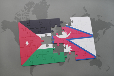 middle east crisis: puzzle with the national flag of jordan and nepal on a world map background. 3D illustration Stock Photo