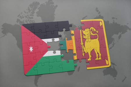 colombo: puzzle with the national flag of jordan and sri lanka on a world map background. 3D illustration
