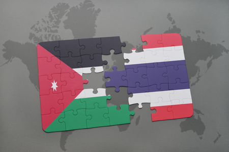 middle east crisis: puzzle with the national flag of jordan and thailand on a world map background. 3D illustration Stock Photo