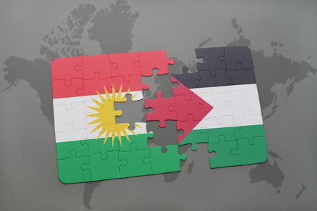 puzzle with the national flag of kurdistan and palestine on a world map background. 3D illustration Stock Photo