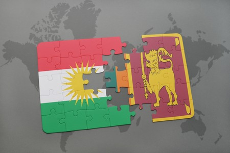 colombo: puzzle with the national flag of kurdistan and sri lanka on a world map background. 3D illustration